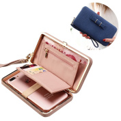 Aeeque Luxury Women Leather Wallet Phone Bags Case for Samsung Galaxy S6 S7 Edge A3 A5 J5 J7/ iPhone 7 6 6S Plus SE 5 S/ Huawei P8 Lite 2017, Stylish Girl Bowknot Purse Wallet Cover with [Hand Wrist] [Card Slots] - Dark Blue