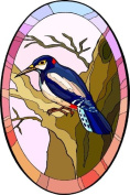 Woodpecker Bird in Tree - Etched Vinyl Stained Glass Film, Static Cling Window Decal