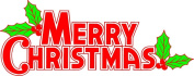 Merry Christmas with Holly - Etched Vinyl Stained Glass Film, Static Cling Window Decal