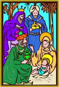 Christmas 3 Wise Men with Mary & Jesus - Etched Vinyl Stained Glass Film, Static Cling Window Decal