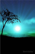 Silhouette of Tree with Sunrise over Mountain - Vinyl Stained Glass Film, Static Cling Window Decal
