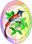Colourful Bird with Long Red Tail Feathers-Etched Vinyl Stained Glass Film, Static Cling Window Decal