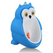 Foryee Cute Owl Potty Training Urinal for Boys with Funny Aiming Target and Water Pipe - Blue