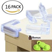 BABYHA Baby Safety Corner Guards Furniture Edge Protectors16-pack, Bonus Cabinet Lock. Keep Children Safe, Protect From Injury