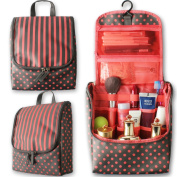 Travel Hanging Toiletry Bag ,Lively Life Portable Wash bag Bathroom Women Ladies Cosmetic Organiser Makeup Kit Beach Bag Sports Waterproof with Hook for Overnight Trip Camping Swimming,Pink Polka Dot
