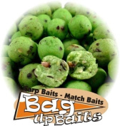 "Bag Up Baits Boosted Green Fishmeal 14mm Big Carp & Barbel Boilies 100gm Session Pack - "" Top Selling Boilies ."