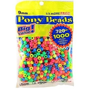 3 x Darice Value Pack Pony Bead, 9mm, Neon Multicolor, 1000-Pack