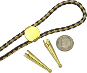 "Bolo Tie Parts - TWO Bolo Tips + 16mm Slide Gold Tone+ 36"" Gold and Black Leatherette Cord - 4pcs"