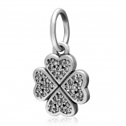 Four Leaf Clover Charm 925 Sterling Silver Heart Beads fit for Fashion Charms Bracelets