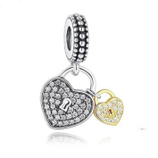 Tow Heart/Love Locks Charm 925 Sterling Silver Beads fit for Fashion Charms Bracelets