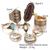 8PCS/Set Turquoise Vintage Turkish Joint Knuckle Boho Rings Jewellery Ethnic Tribal Nail Midi Knuckle Stacking Ring Set