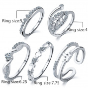 5PCS/Set Crystal Heart Open Joint Knuckle Ring Set Carving Nail Midi Knuckle Statement Ring Jewellery