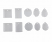 Honbay 10pcs 5 Different Type Silicone Jewellery Pendant Making Mould with Hanging Hole DIY Handmade Craft Tool