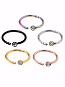 LIGONG 5 Pieces Nose Ring Stainless Steel Nose Hoop Nose Stud Body Piercing Jewellery