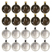 MoMaek 20 Sets Pendant Bezel Silver Plated Round Trays with 25 mm Round Glass Cabochon Dome Tiles Clear Cameo