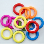 30 Pcs Colourful Wood Rings Circle Wood Pendant DIY Craft Making Gift Accessories,Outside diameter:3.5cm