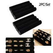Adorox 2 sets of Finger Black Velvet Ring Trays Accessory Foam Pads Showcase Counter Top Display Jewellery Holder 14cm
