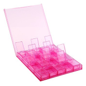 Movable Nail Art Tip Sequin Storage Box Case with 20 Pink Rectangle Independent Compartments