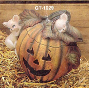 Pumpkin Jar with Mouse on lid Ceramic Bisque, ready to paint, glazed inside