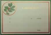 (10) Caspari Holly Berry Branch A Holiday Party Fill-in Invitations - White Envelopes