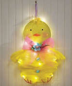 Adorable Lighted Easter Chick Peep Cordless Battery Operated Mesh Door Wall Hanger Decor Springtime Lights up Whimsical Cute Door Wreath