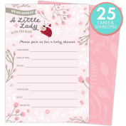 Little Lady on the Way Baby Shower Invitations for Girls, Set of 25 Fill-In Style Cards and Envelopes. Ladybug Theme with Pink and White Flowers, Butterflies and Hearts.