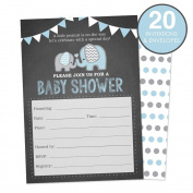 Elephant Baby Shower Invitations for a Boy (Blue) Fill In Style 20 Count