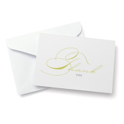 Green Script Thank You Cards