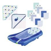 Baby Bath Set, Baby Bathtub, Baby Bath Towel and Washcloth; Great for Baby Shower Gift
