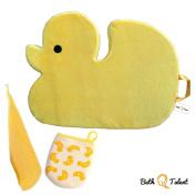 Bath Q Talent Multipurpose Bath Kneeler Bath Mat Complete Bundle with Baby Bath Hand Towel and Baby Bath Glove Wash Mitt