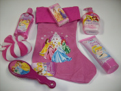 7pc Disney Princess Bath & Fun Bundle Gift Set with Festive Pink Princess Stocking, Berry Bliss 210ml Body Wash, Bubble Bath, Royal Berry Moisturising Hand Soap, Princess Pink Hair Brush, Pink & White Body Puff & Princess Pocket Tissues