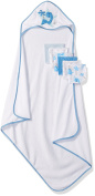 Little Beginnings Dino Print Hooded Towel and Washcloths Gift Set, Blue