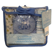 Little Mimos 12 Washcloth Terry Toy Set, Blue