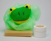 "Neem Oil Soap ""Heaven Scent"" & Rash Relief Neem Cream ""Green Frog"" Loofa Bath and Gift Set - For Babies and Kids!"