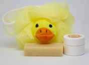 "Neem Oil Soap ""Heaven Scent"" & Rash Relief Neem Cream ""Yellow Duck"" Loofa Bath and Gift Set - For Babies and Kids!"