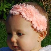 QueenMee Baby Flower Headband Ivory Peach Baby Headband Set Baby Flower Headbands Baptism Headband For Baby Girl Ivory Baby Headband Ivory Baby Flowergirl Headband
