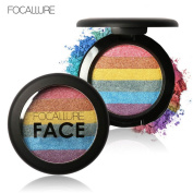 Hometom Focallure Rainbow Highlight Eyeshadow Palette Baked Blush Face Shimmer New
