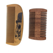 One Way Handmade and Premium Bidirectional Wooden Comb- Best Quality Pocket Size - For Uniform Beard and Moustache Growth and Eliminates Tangles, Design with Beard Sugar Skull with Beard Smoking