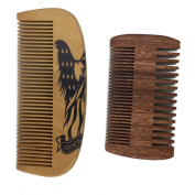 One Way Handmade and Premium Bidirectional Beard Wooden Comb- Best Quality Pocket Size Comb- For Uniform Beard And Moustache Growth and Eliminates Tangles, Frizz and Static, Design American Flag Eagle