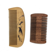 One Way Handmade and Premium Bidirectional Beard Wooden Comb- Best Quality Pocket Size Comb- For Uniform Beard And Moustache Growth and Eliminates Tangles, Frizz and Static, Design with American Eagle