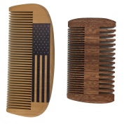 One Way Handmade and Premium Bidirectional Beard Wooden Comb- Best Quality Pocket Size Comb- For Uniform Beard And Moustache Growth and Eliminates Tangles, Frizz and Static, Design with American Flag