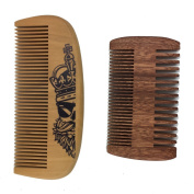 One Way Handmade and Premium Bidirectional Beard Wooden Comb- Best Quality Pocket Size Comb- For Uniform Beard And Moustache Growth and Eliminates Tangles, Frizz and Static, Design with Beard Skull