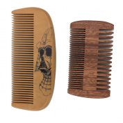 One Way Handmade skull and Premium Bidirectional beard wooden comb- best quality beard and moustache pocket size comb- for uniform beard and moustache growth and eliminates tangles, frizz and static