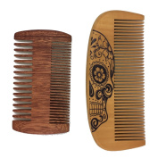 One Way Handmade and Premium Bidirectional Wooden Comb- Best Quality Pocket Size - For Uniform Beard and Moustache Growth and Eliminates Tangles, Frizz and Static, Design with Sugar Skull