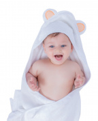 Brightgiggles Baby Hooded Towel - 2 Bamboo Baby Washcloths - Organic - Cotton - Bamboo - Soft- Hypoallergenic- Antibacterial - Keeps Baby Dry Warm and Comfortable - For Infants and Toddlers