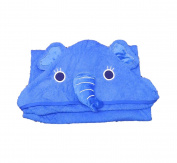 Hudz Kidz Elephant Hooded Towel- 100% Cotton- Blue- Soft & Absorbent