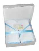 Soft 100% Terry Hooded Baby Towel Gift Pack, Includes two 80cm x 80cm bath towels with blue piping, gift box with lid and greeting card