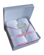 Soft 100% Terry Hooded Baby Towel Gift Pack, Includes two 80cm x 80cm bath towels with pink piping, gift box with lid and greeting card