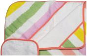 Little Unicorn Cotton Hooded Towel & Wash Cloth Set - Cabana Stripe, Pink, Yellow, Orange