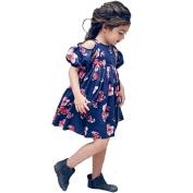 Vanvler Off Shoulder Girl Floral Print Dress Kids Strapless Bohemia Loose Summer Dress